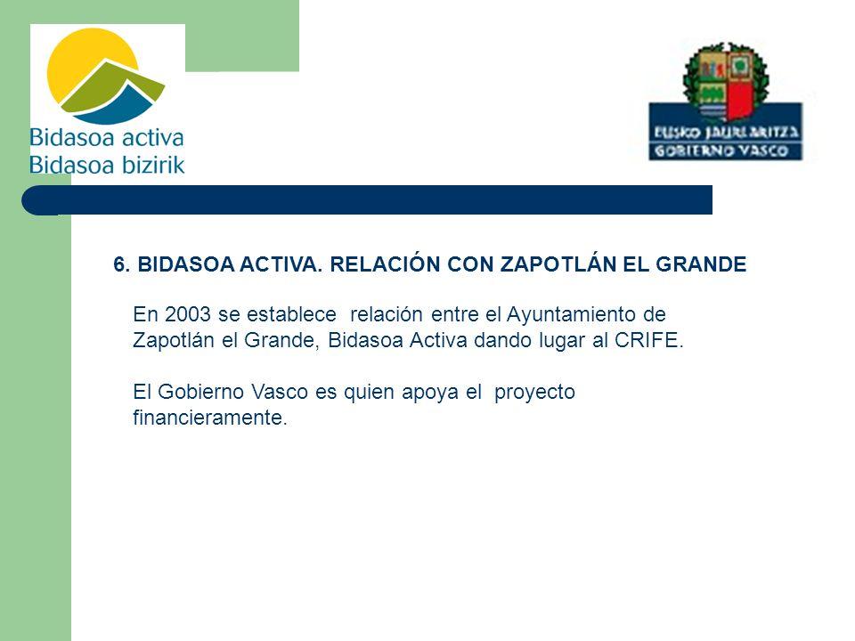 6. BIDASOA ACTIVA. RELACIÓN CON ZAPOTLÁN EL GRANDE En 2003 se establece relación entre el Ayuntamiento de Zapotlán el Grande, Bidasoa Activa dando lug