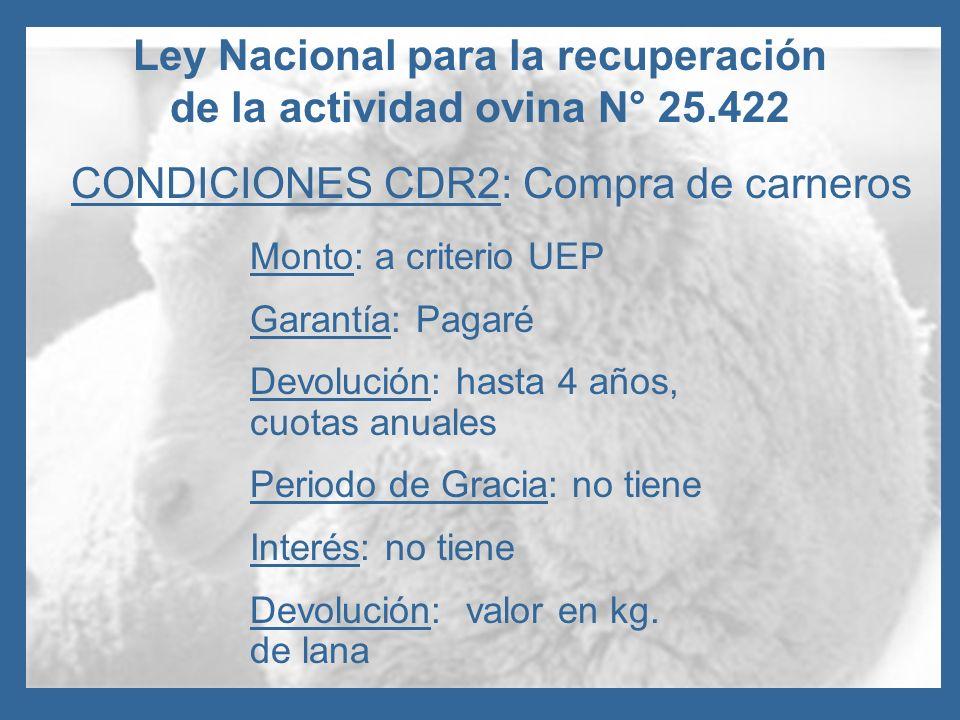 Ley Nacional para la recuperación de la actividad ovina N° 25.422 CONDICIONES CDR2: Compra de carneros Monto: a criterio UEP Garantía: Pagaré Devoluci