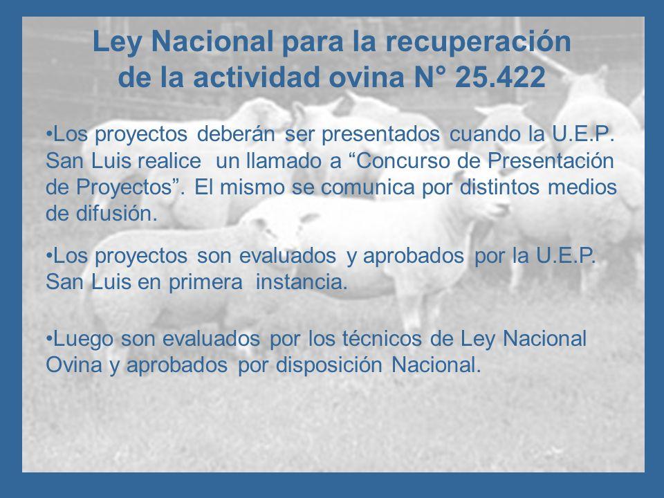 Ley Nacional para la recuperación de la actividad ovina N° 25.422 Los proyectos deberán ser presentados cuando la U.E.P. San Luis realice un llamado a