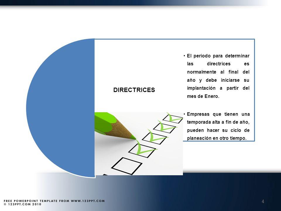 4 DIRECTRICES El período para determinar las directrices es normalmente al final del año y debe iniciarse su implantación a partir del mes de Enero. E