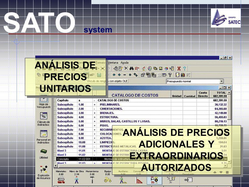 ANÁLISIS DE PRECIOS ADICIONALES Y EXTRAORDINARIOS AUTORIZADOS SATO system ANÁLISIS DE PRECIOS UNITARIOS