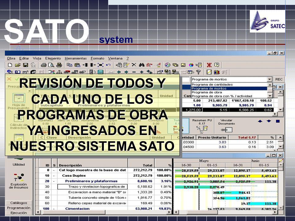 EL SATO NOS PERMITE EFECTUAR: SATO system COMPARATIVAS DEL PROGRAMA CONTRACTUAL VS REAL OBRA EJECUTADA Y ESTIMADA VS.