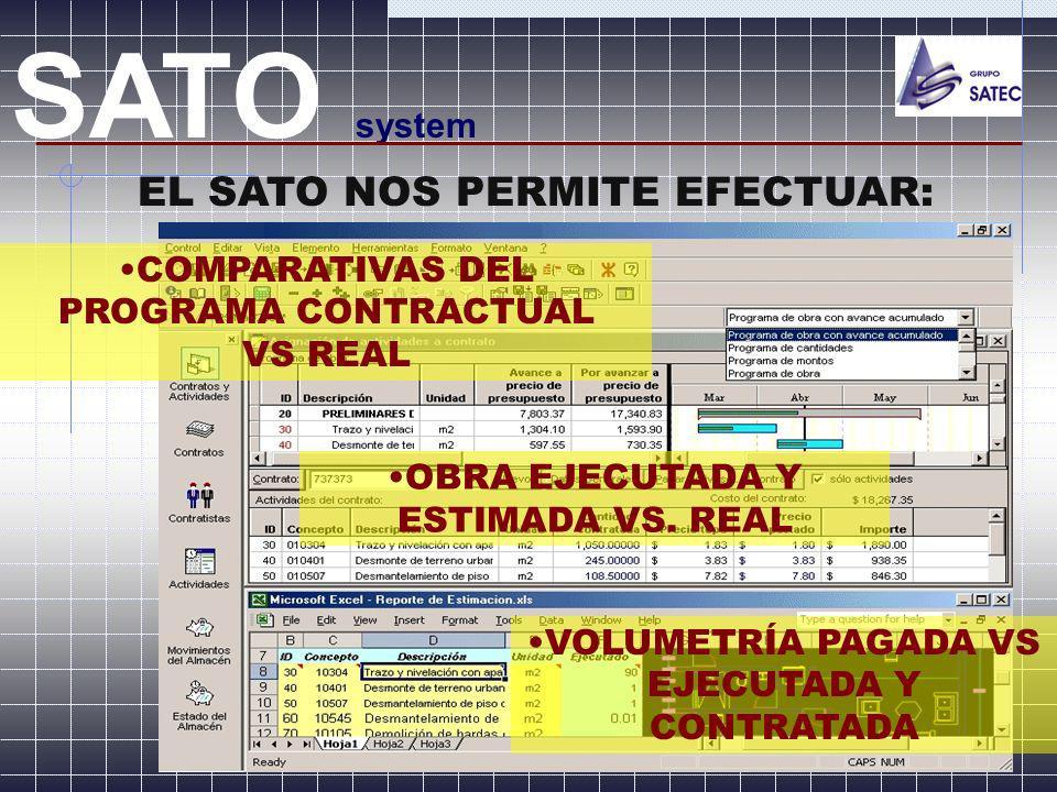 EL SATO NOS PERMITE EFECTUAR: SATO system COMPARATIVAS DEL PROGRAMA CONTRACTUAL VS REAL OBRA EJECUTADA Y ESTIMADA VS. REAL VOLUMETRÍA PAGADA VS EJECUT