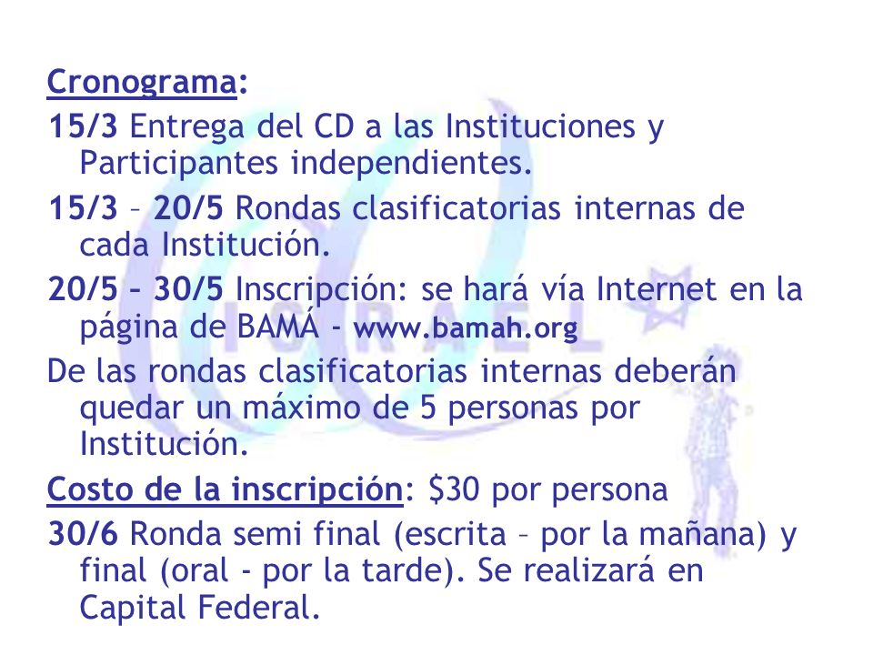 Cronograma: 15/3 Entrega del CD a las Instituciones y Participantes independientes.