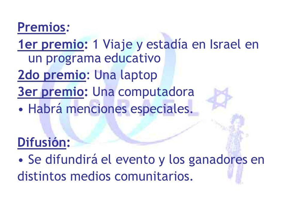 Premios: 1er premio: 1 Viaje y estadía en Israel en un programa educativo 2do premio: Una laptop 3er premio: Una computadora Habrá menciones especiales.