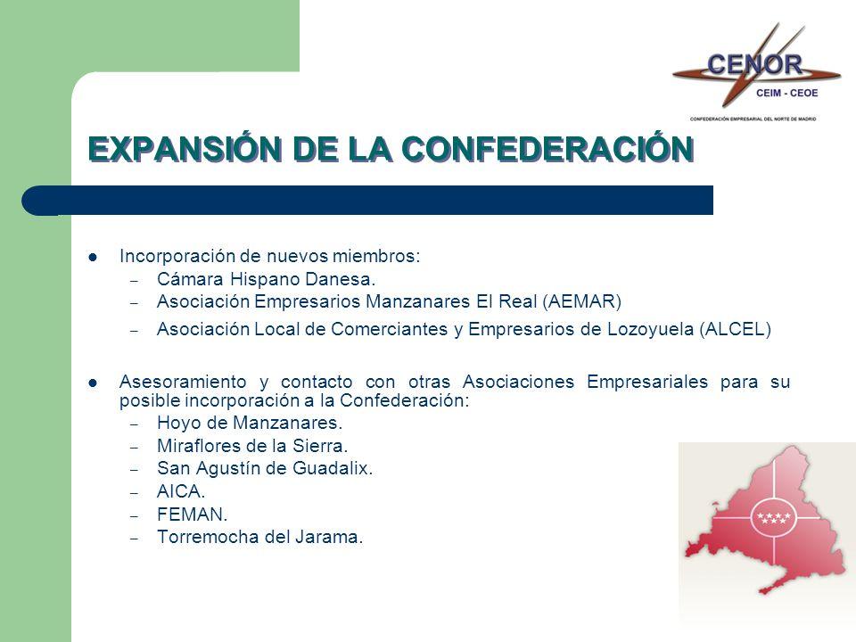 EXPANSIÓN DE LA CONFEDERACIÓN Incorporación de nuevos miembros: – Cámara Hispano Danesa. – Asociación Empresarios Manzanares El Real (AEMAR) – Asociac