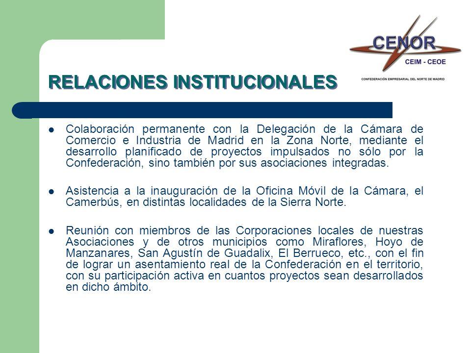 RELACIONES INSTITUCIONALES Colaboración permanente con la Delegación de la Cámara de Comercio e Industria de Madrid en la Zona Norte, mediante el desa