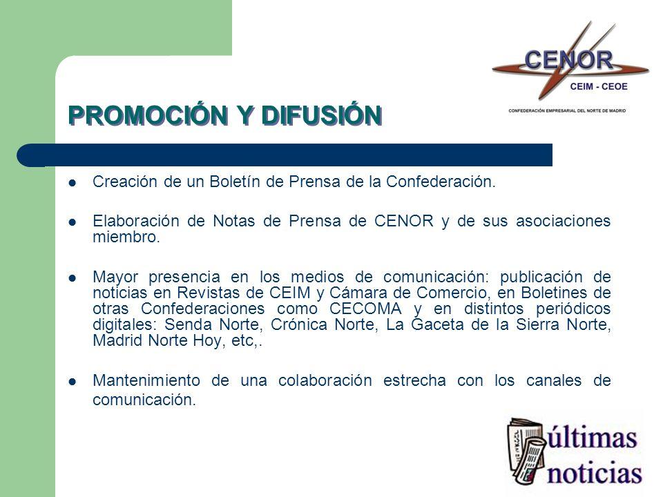 PROMOCIÓN Y DIFUSIÓN Creación de un Boletín de Prensa de la Confederación.
