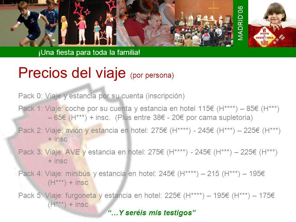 ¡Una fiesta para toda la familia! MADRID08 Precios del viaje (por persona) Pack 0: Viaje y estancia por su cuenta (inscripción) Pack 1: Viaje: coche p