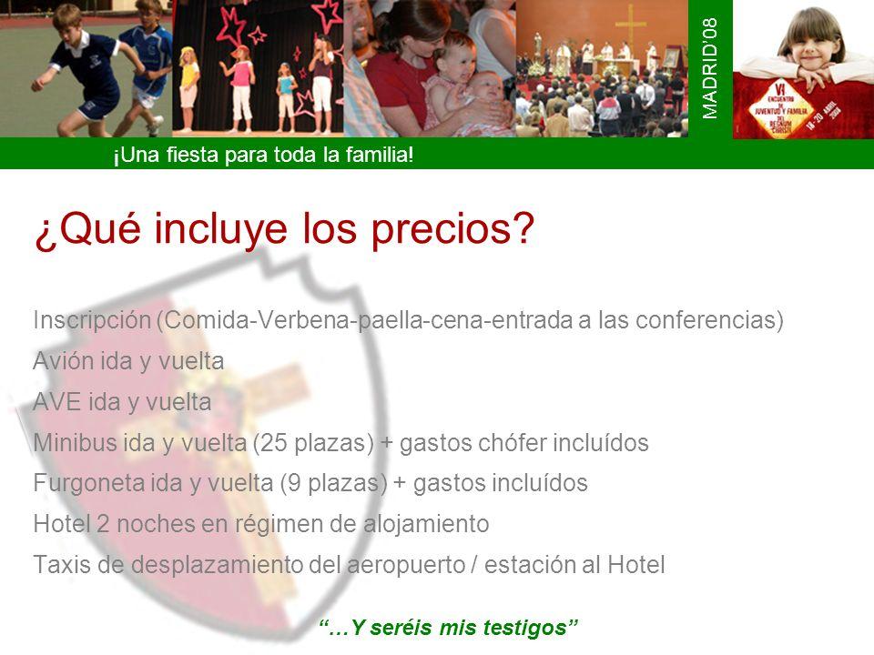 ¡Una fiesta para toda la familia! MADRID08 ¿Qué incluye los precios? Inscripción (Comida-Verbena-paella-cena-entrada a las conferencias) Avión ida y v