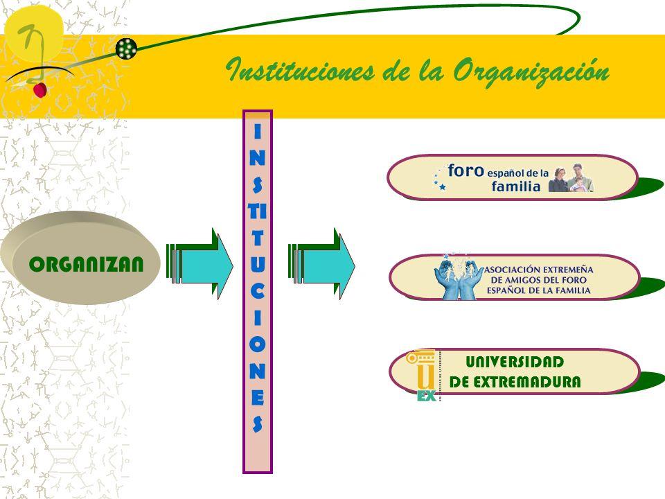 I N S TI T U C I O N E S UNIVERSIDAD DE EXTREMADURA ORGANIZAN Instituciones de la Organización
