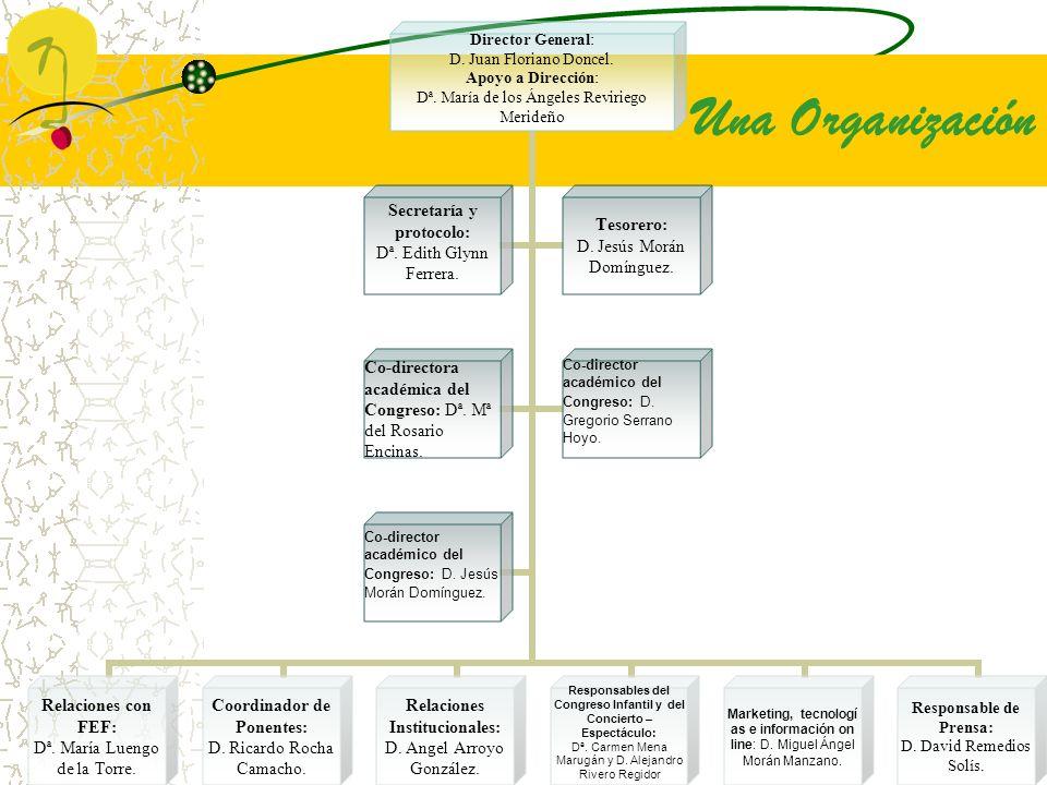 Una Organización Director General: D. Juan Floriano Doncel. Apoyo a Dirección: Dª. María de los Ángeles Reviriego Merideño Relaciones con FEF: Dª. Mar