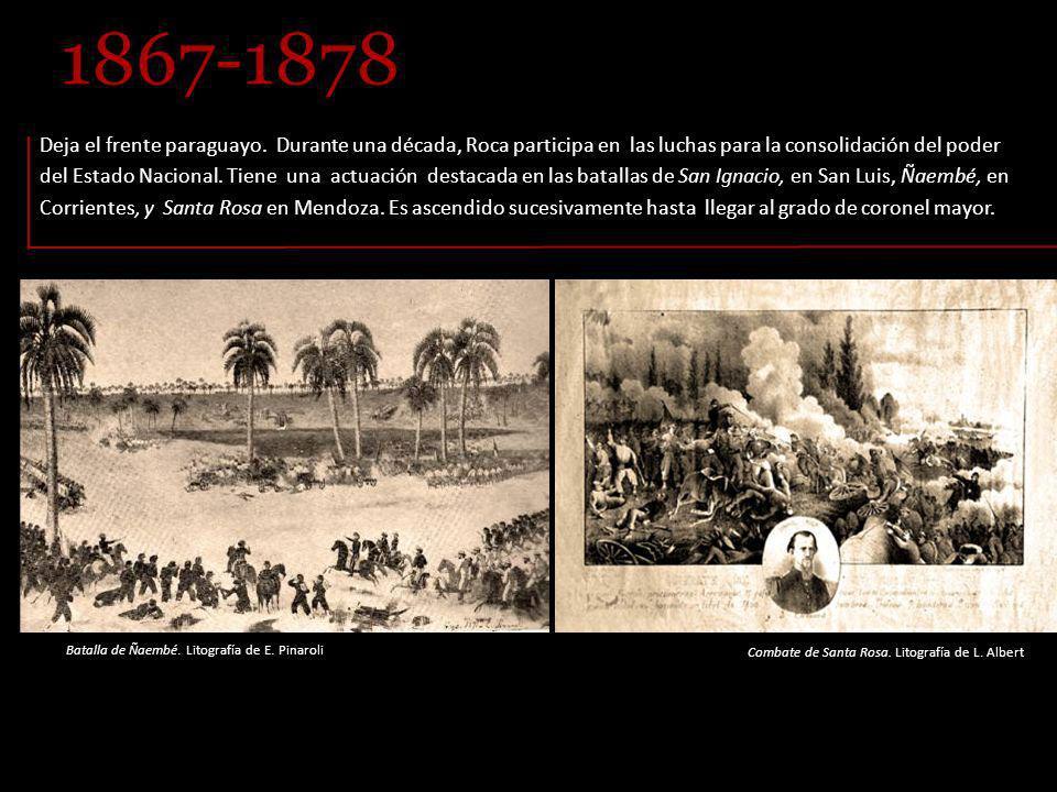 Batalla de Ñaembé.Litografía de E. Pinaroli Deja el frente paraguayo.