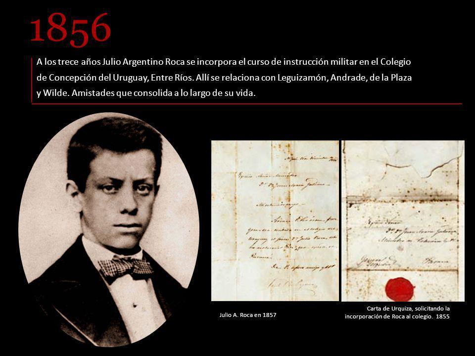 Carta de Urquiza, solicitando la incorporación de Roca al colegio.
