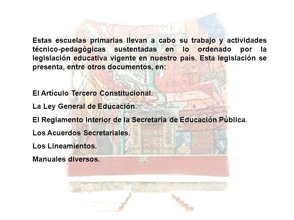 Estas escuelas primarias llevan a cabo su trabajo y actividades técnico-pedagógicas sustentadas en lo ordenado por la legislación educativa vigente en