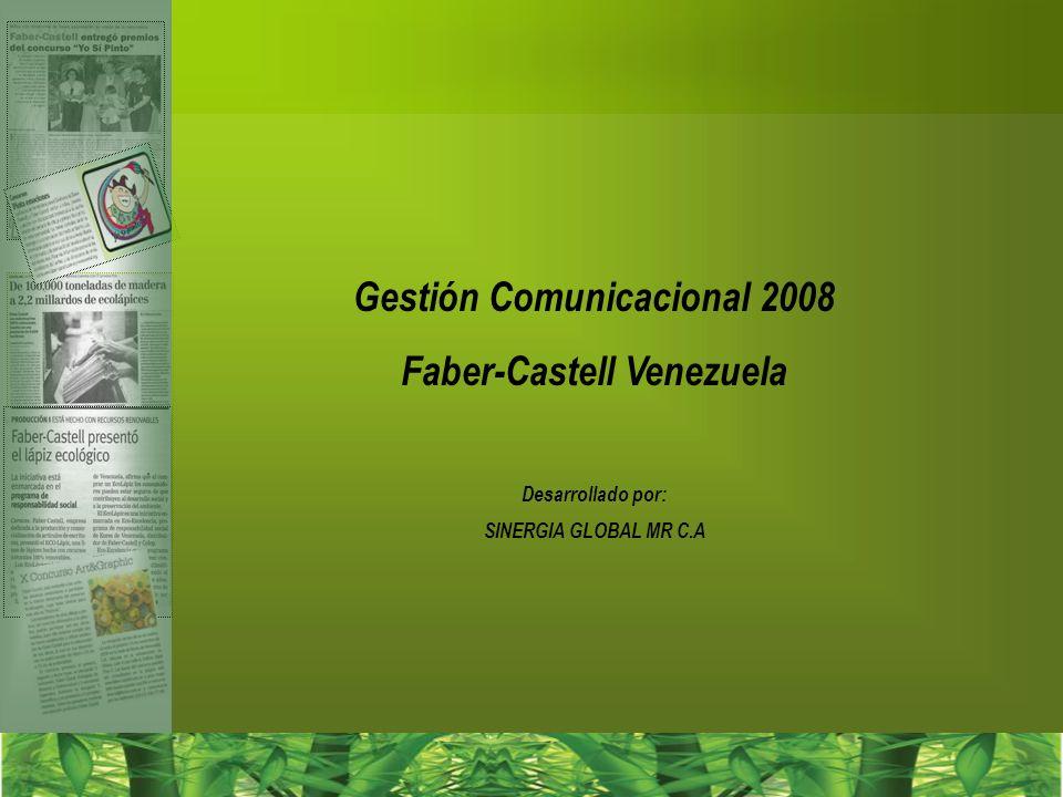 El Foco de la Gestión 2008 Inicio de un proceso de consolidación de Faber-Castell como Empresa Socialmente Responsable Consolidación del liderazgo de Faber-Castell como Empresa que cuenta con un gama de producto ecológicos que promueven una conciencia ambientalista ECOLAPIZ