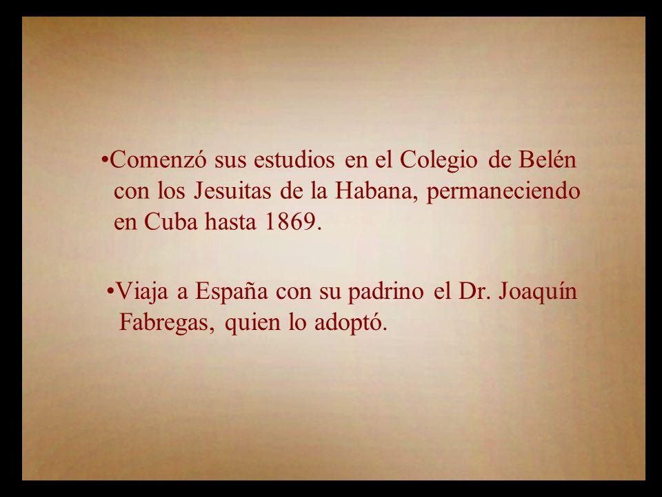 Viaja a España con su padrino el Dr.Joaquín Fabregas, quien lo adoptó.