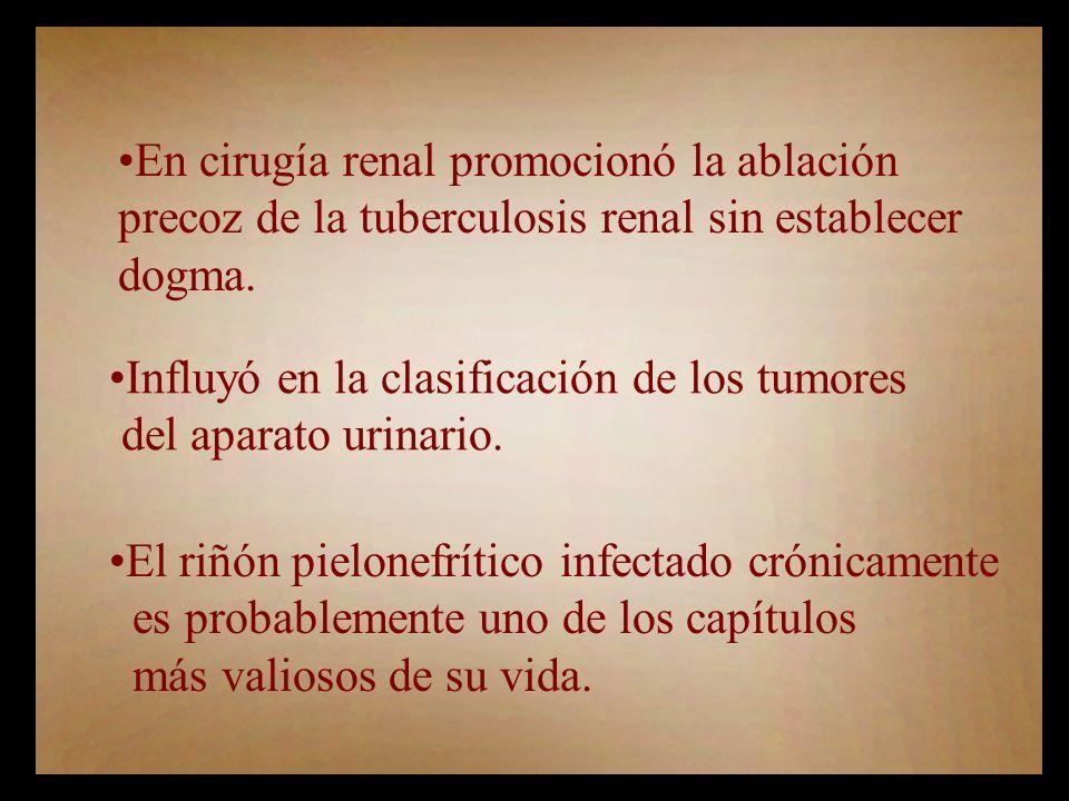En cirugía renal promocionó la ablación precoz de la tuberculosis renal sin establecer dogma.