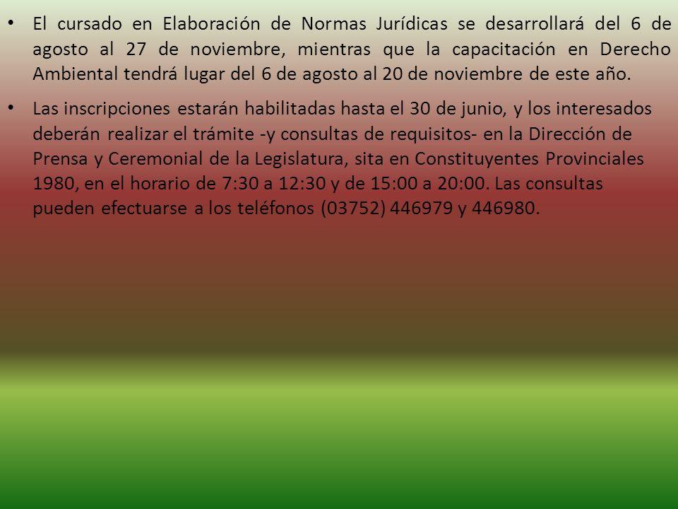 Las inscripciones estarán habilitadas hasta el 30 de junio, y los interesados deberán realizar el trámite -y consultas de requisitos- en la Dirección de Prensa y Ceremonial de la Legislatura, sita en Constituyentes Provinciales 1980, en el horario de 7:30 a 12:30 y de 15:00 a 20:00.