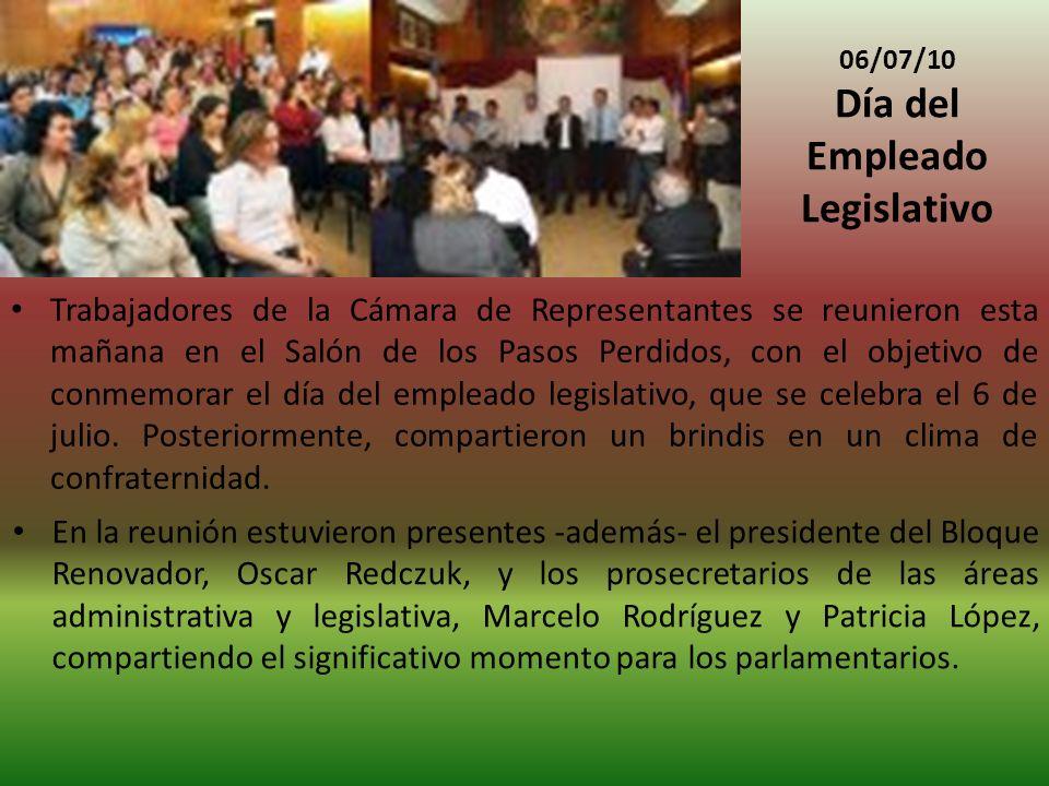 06/07/10 Día del Empleado Legislativo Trabajadores de la Cámara de Representantes se reunieron esta mañana en el Salón de los Pasos Perdidos, con el objetivo de conmemorar el día del empleado legislativo, que se celebra el 6 de julio.