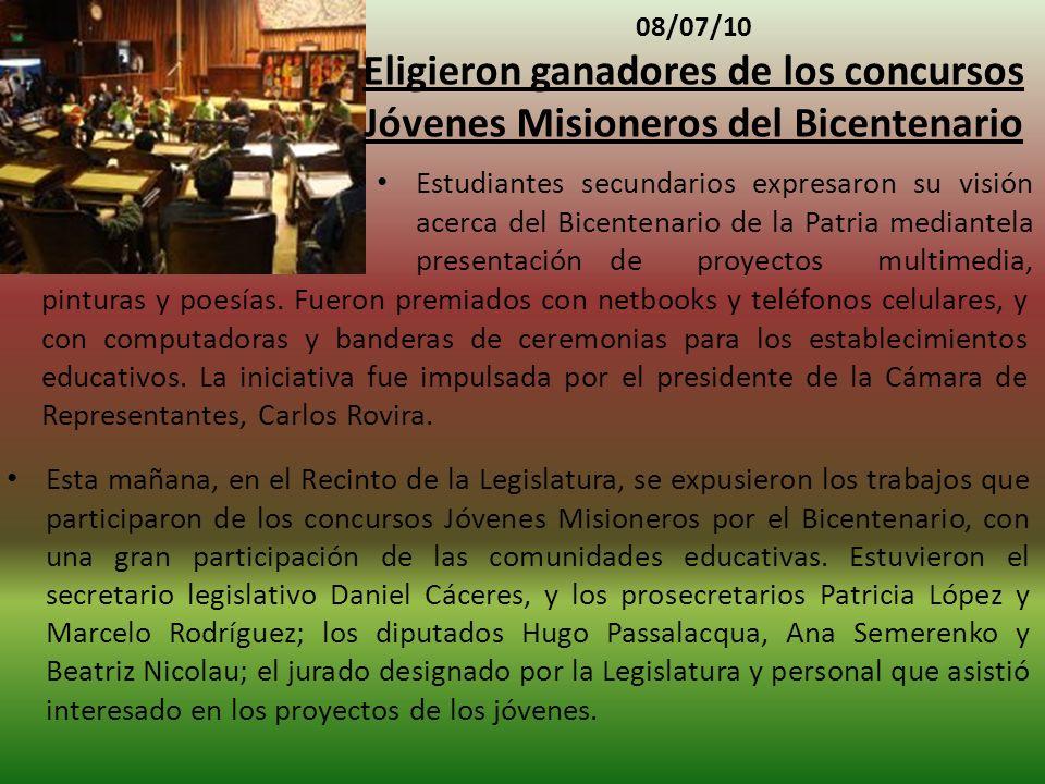 08/07/10 Eligieron ganadores de los concursos Jóvenes Misioneros del Bicentenario pinturas y poesías.