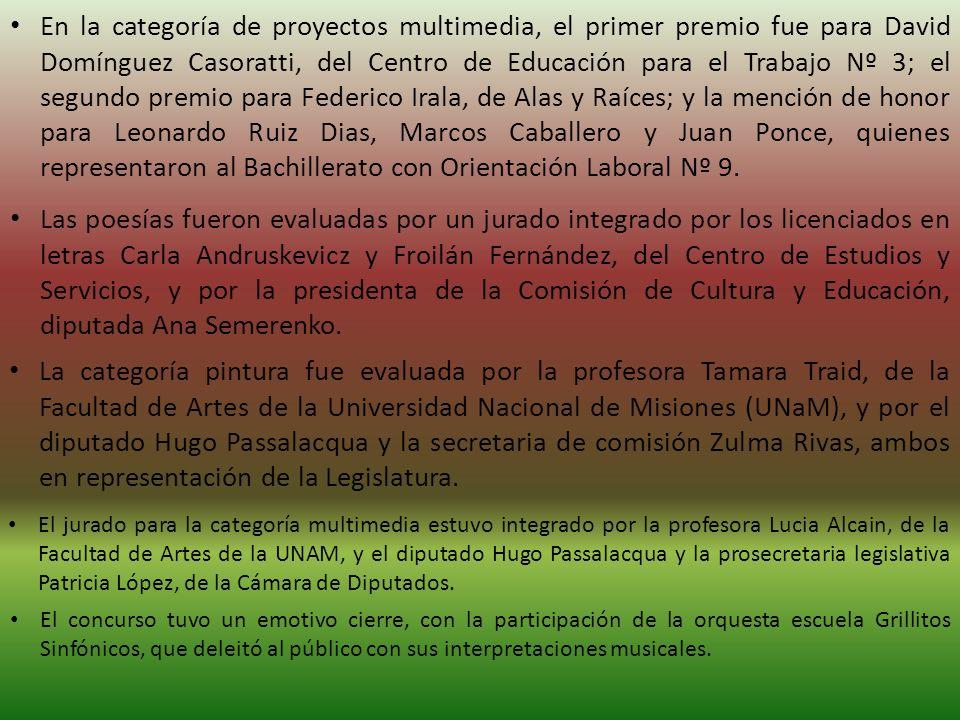 En la categoría de proyectos multimedia, el primer premio fue para David Domínguez Casoratti, del Centro de Educación para el Trabajo Nº 3; el segundo premio para Federico Irala, de Alas y Raíces; y la mención de honor para Leonardo Ruiz Dias, Marcos Caballero y Juan Ponce, quienes representaron al Bachillerato con Orientación Laboral Nº 9.