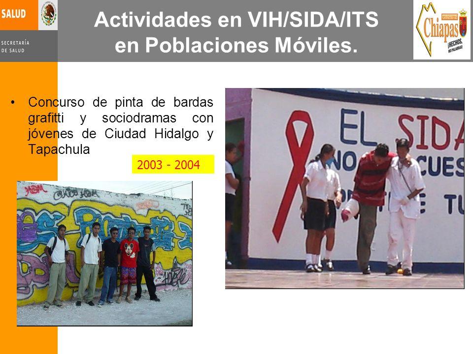 Actividades en VIH/SIDA/ITS en Poblaciones Móviles. Concurso de pinta de bardas grafitti y sociodramas con jóvenes de Ciudad Hidalgo y Tapachula 2003
