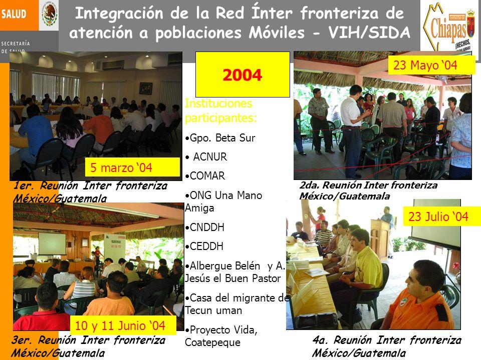 Integración de la Red Ínter fronteriza de atención a poblaciones Móviles - VIH/SIDA 1er. Reunión Inter fronteriza México/Guatemala 3er. Reunión Inter