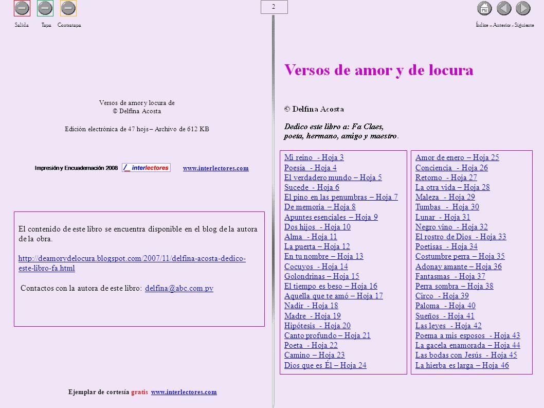 3 Versos de amor y de locura de Delfina AcostaEjemplar de cortesía gratis www.interlectores.com