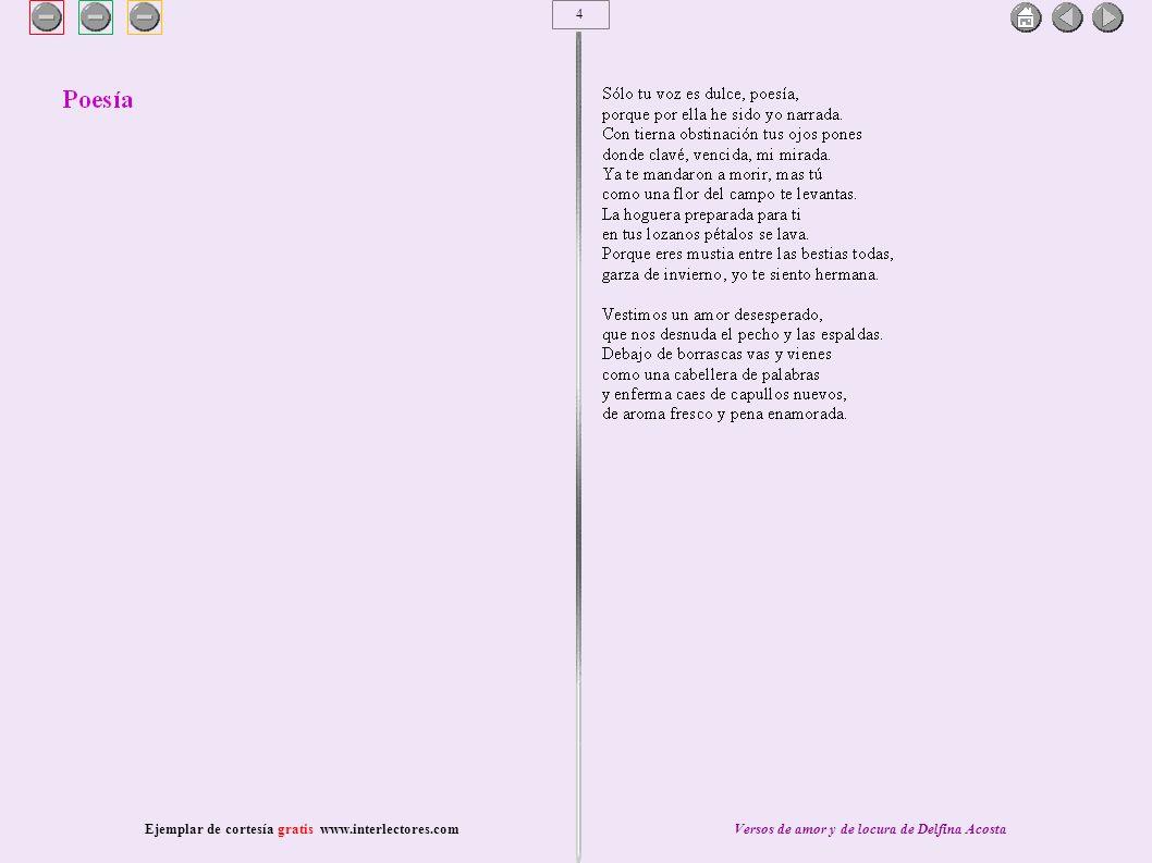 5 Ejemplar de cortesía gratis www.interlectores.comVersos de amor y de locura de Delfina Acosta