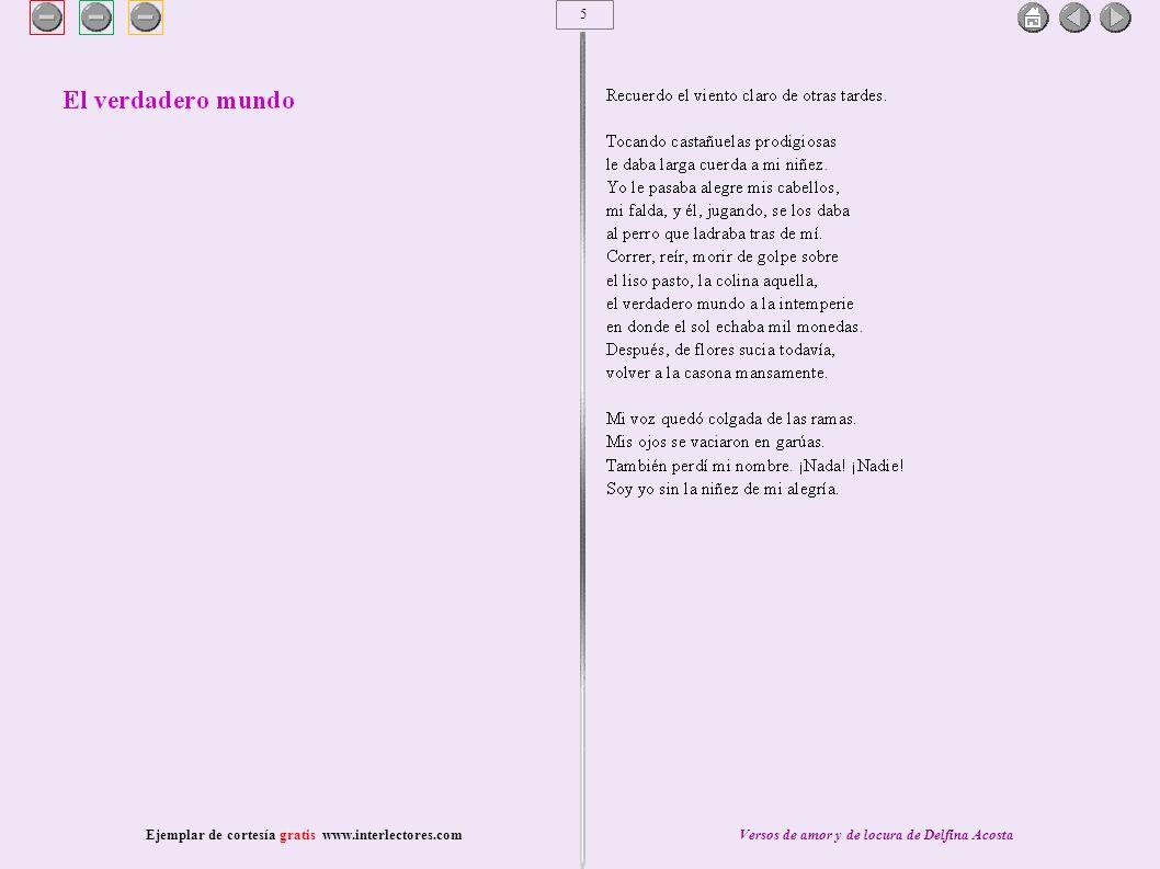 6 Ejemplar de cortesía gratis www.interlectores.comVersos de amor y de locura de Delfina Acosta