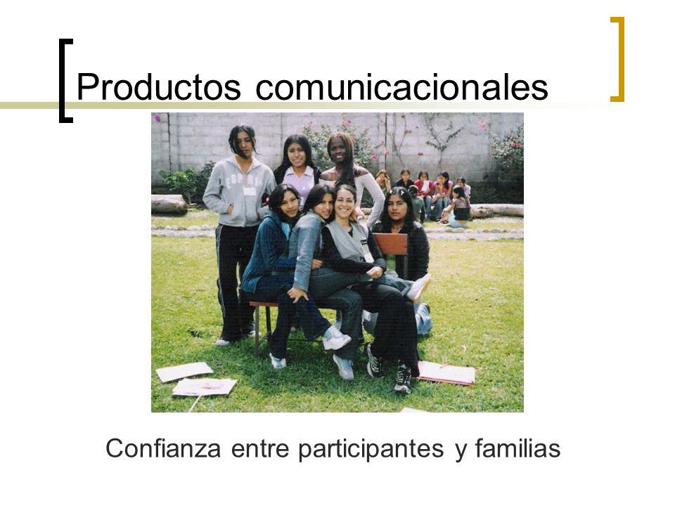 Productos comunicacionales Confianza entre participantes y familias