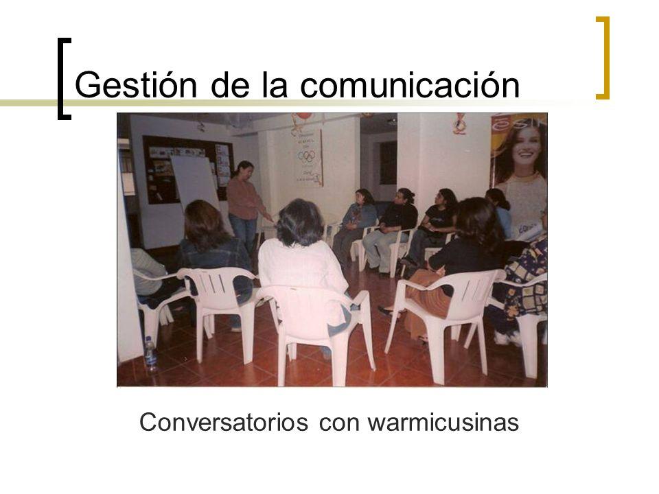 Gestión de la comunicación Conversatorios con warmicusinas