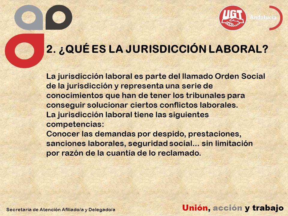 2. ¿QUÉ ES LA JURISDICCIÓN LABORAL? Secretaría de Atención Afiliado/a y Delegado/a Unión, acción y trabajo La jurisdicción laboral es parte del llamad
