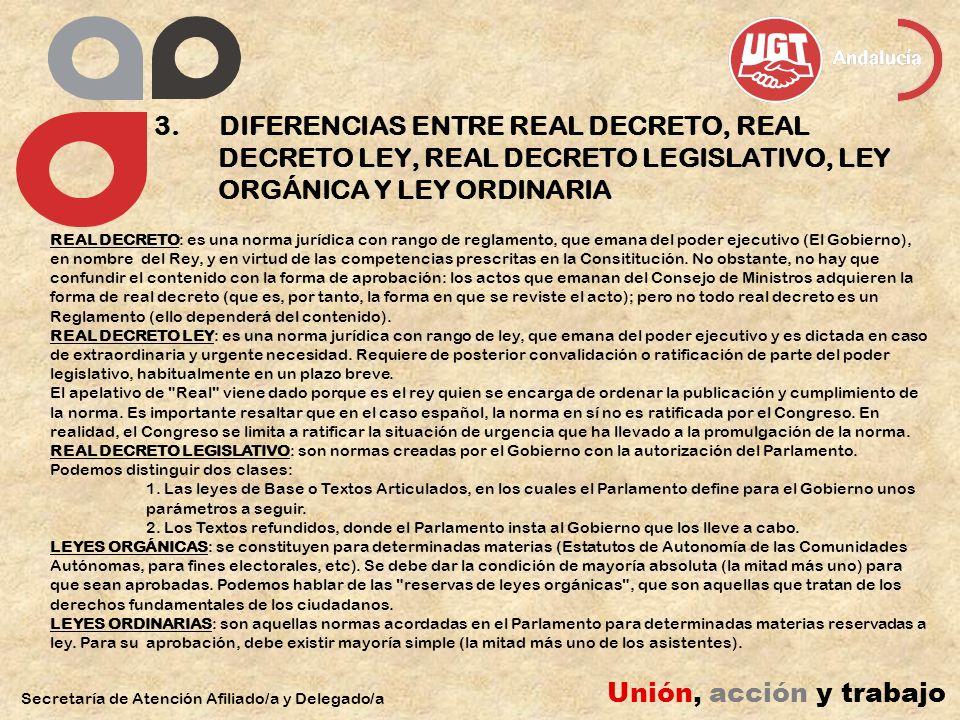 3. DIFERENCIAS ENTRE REAL DECRETO, REAL DECRETO LEY, REAL DECRETO LEGISLATIVO, LEY ORGÁNICA Y LEY ORDINARIA Secretaría de Atención Afiliado/a y Delega