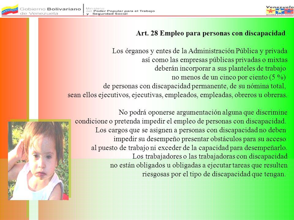 Art. 28 Empleo para personas con discapacidad Los órganos y entes de la Administración Pública y privada así como las empresas públicas privadas o mix
