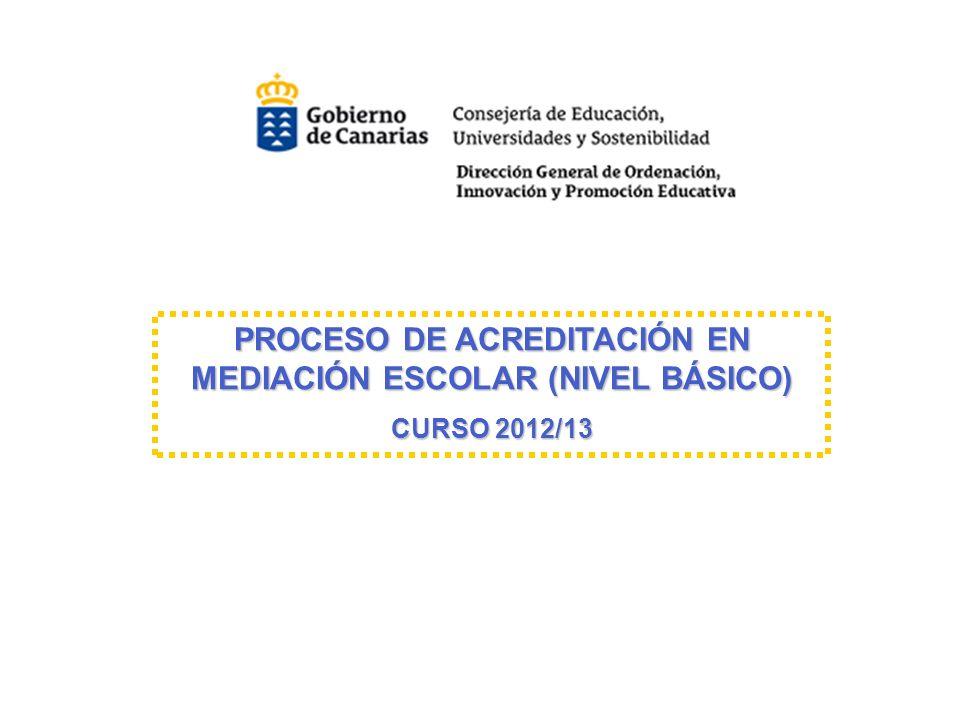 PROCESO DE ACREDITACIÓN EN MEDIACIÓN ESCOLAR (NIVEL BÁSICO) PROCESO DE ACREDITACIÓN EN MEDIACIÓN ESCOLAR (NIVEL BÁSICO) CURSO 2012/13 CURSO 2012/13