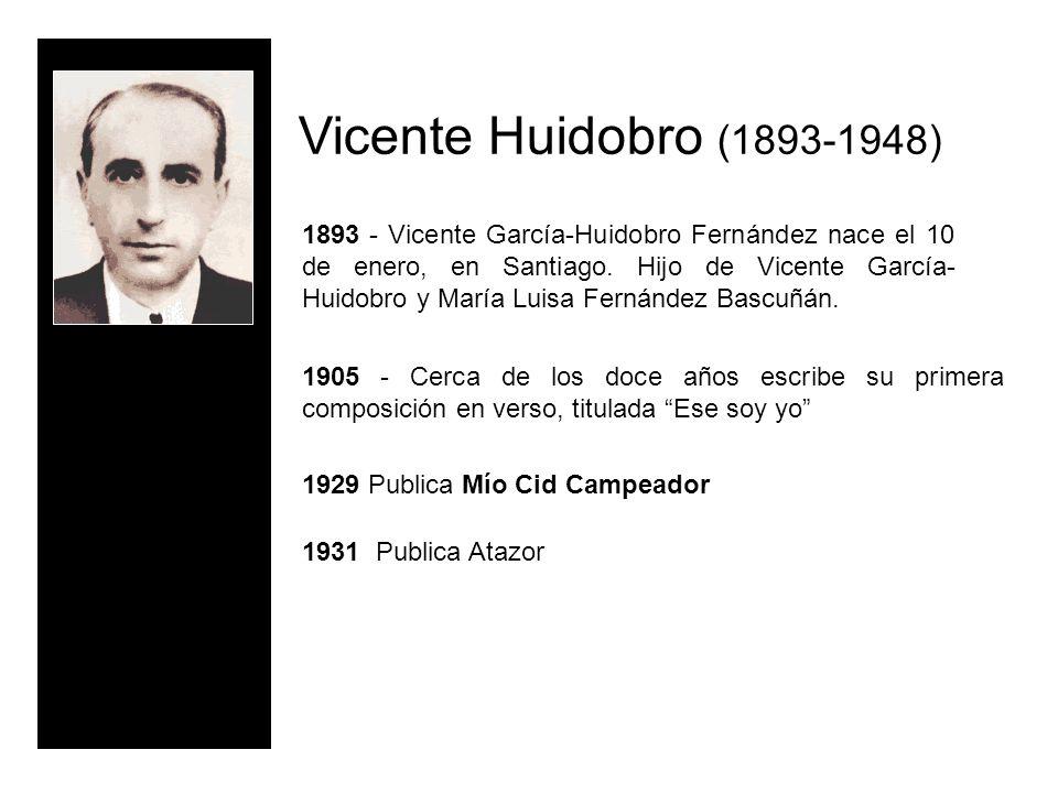 Vicente Huidobro (1893-1948) 1893 - Vicente García-Huidobro Fernández nace el 10 de enero, en Santiago. Hijo de Vicente García- Huidobro y María Luisa