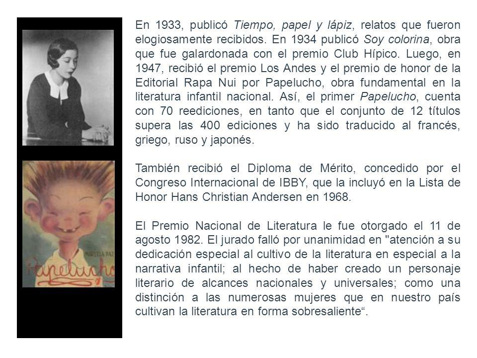 En 1933, publicó Tiempo, papel y lápiz, relatos que fueron elogiosamente recibidos. En 1934 publicó Soy colorina, obra que fue galardonada con el prem