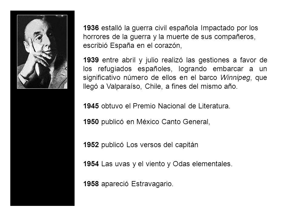 1936 estalló la guerra civil española Impactado por los horrores de la guerra y la muerte de sus compañeros, escribió España en el corazón, 1939 entre