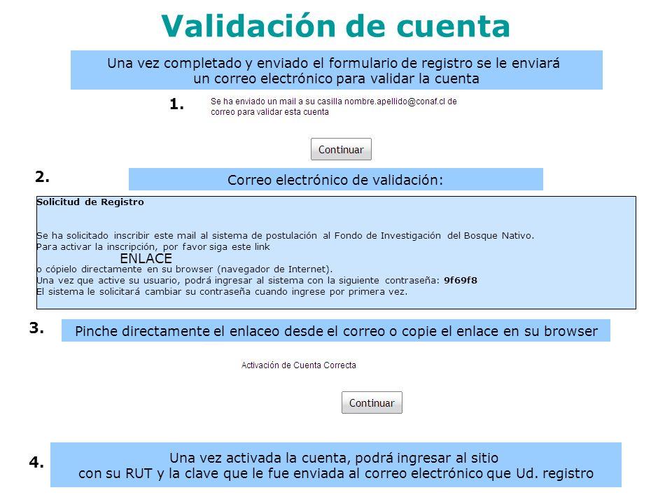 4. 3. 1. Validación de cuenta Solicitud de Registro Se ha solicitado inscribir este mail al sistema de postulación al Fondo de Investigación del Bosqu