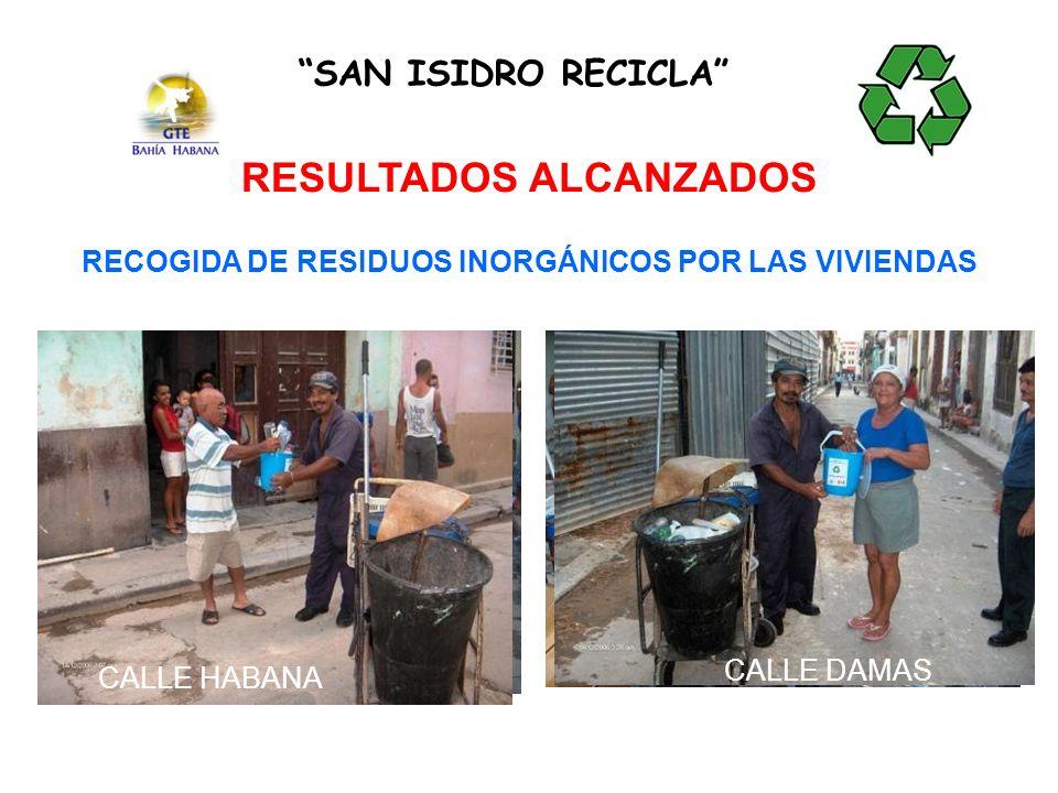 RECOGIDA DE RESIDUOS INORGÁNICOS POR LAS VIVIENDAS SAN ISIDRO RECICLA RESULTADOS ALCANZADOS CALLE PAULACALLE HABANA CALLE MERCEDCALLE DAMAS