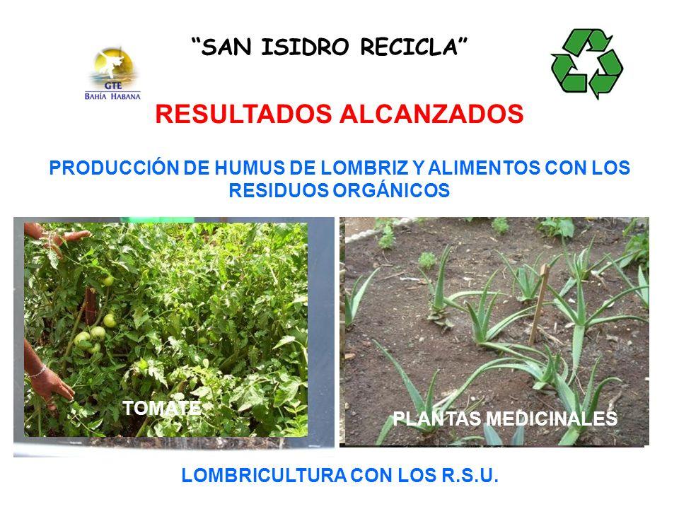 SAN ISIDRO RECICLA RESULTADOS ALCANZADOS PRODUCCIÓN DE HUMUS DE LOMBRIZ Y ALIMENTOS CON LOS RESIDUOS ORGÁNICOS PIMIENTO TOMATE CARNE Y HUEVOS LOMBRICULTURA CON LOS R.S.U.