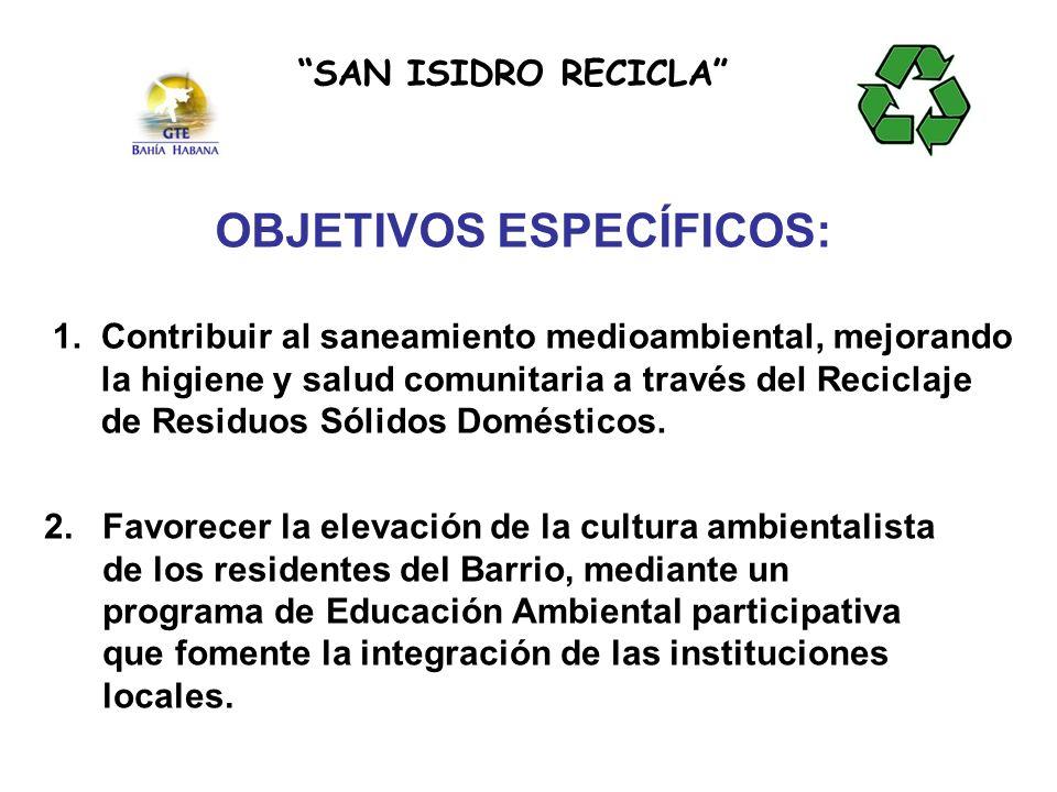 1. Contribuir al saneamiento medioambiental, mejorando la higiene y salud comunitaria a través del Reciclaje de Residuos Sólidos Domésticos. SAN ISIDR
