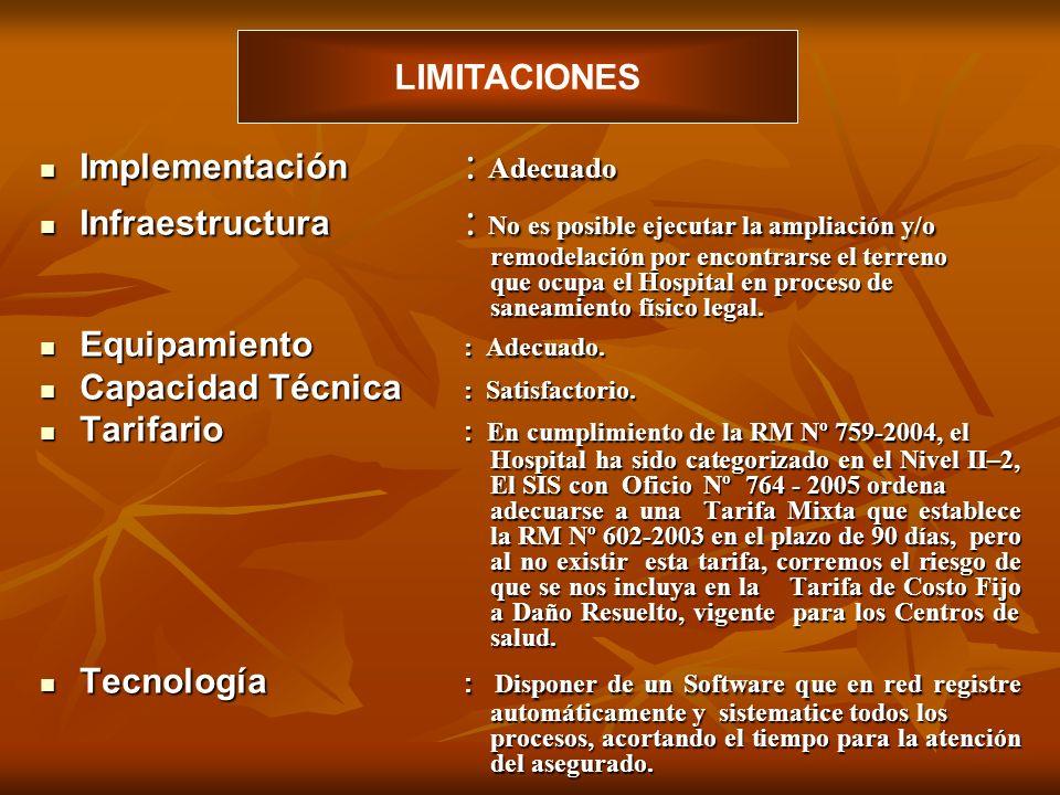 Implementación : Adecuado Implementación : Adecuado Infraestructura : No es posible ejecutar la ampliación y/o remodelación por encontrarse el terreno