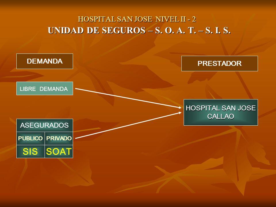 HOSPITAL SAN JOSE NIVEL II - 2 UNIDAD DE SEGUROS – S. O. A. T. – S. I. S. DEMANDA PRESTADOR LIBRE DEMANDA ASEGURADOS PUBLICOPRIVADO SISSOAT HOSPITAL S