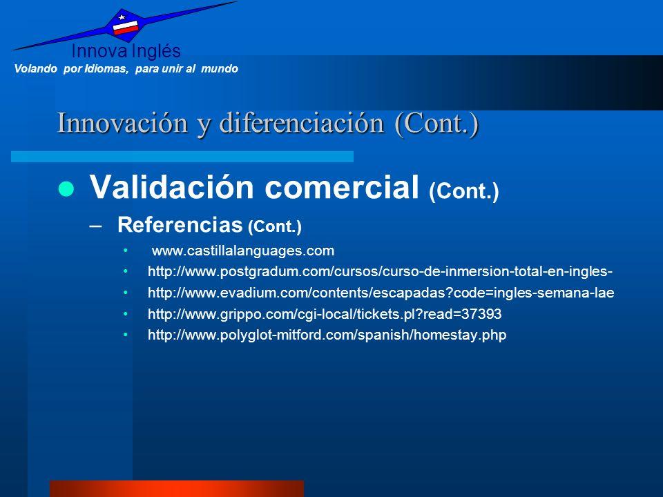 Innova Inglés Volando por Idiomas, para unir al mundo Innovación y diferenciación (Cont.) Validación comercial (Cont.) –Referencias (Cont.) www.castil