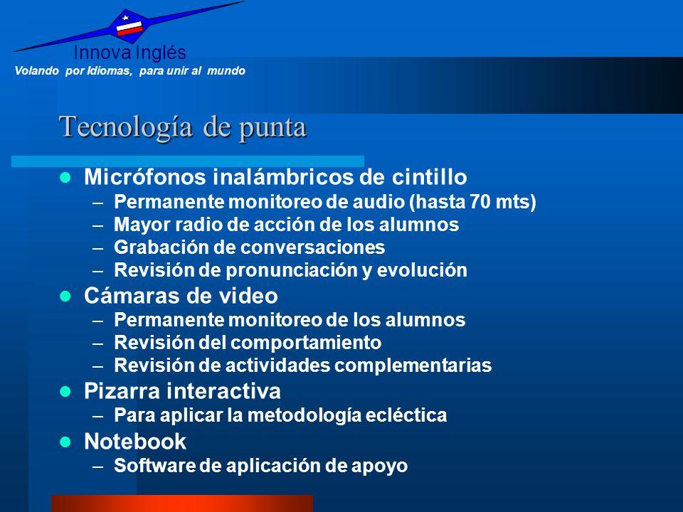 Innova Inglés Volando por Idiomas, para unir al mundo Tecnología de punta Micrófonos inalámbricos de cintillo –Permanente monitoreo de audio (hasta 70