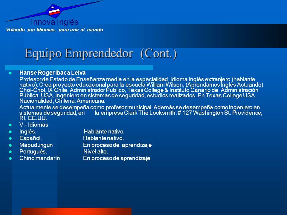 Innova Inglés Volando por Idiomas, para unir al mundo Equipo Emprendedor (Cont.) Hanse Roger Ibaca Leiva Profesor de Estado de Enseñanza media en la e