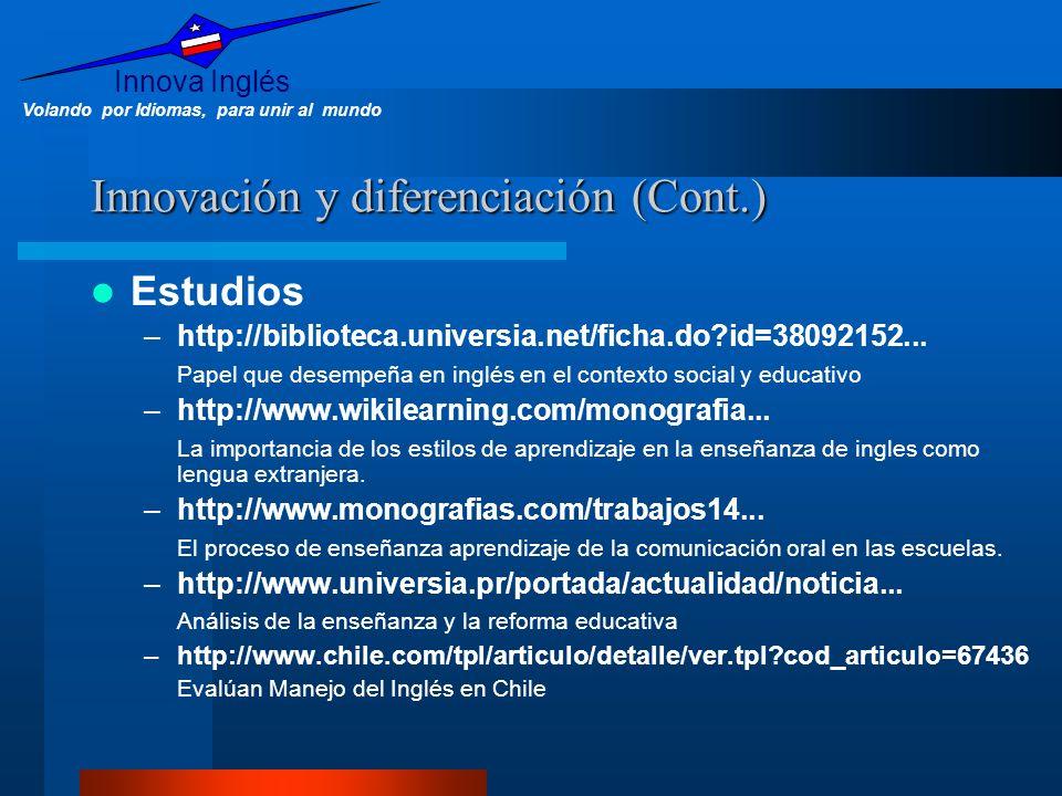 Innova Inglés Volando por Idiomas, para unir al mundo Innovación y diferenciación (Cont.) Estudios –http://biblioteca.universia.net/ficha.do?id=380921